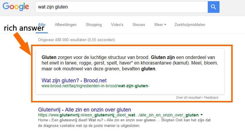 Voorbeeld Google Rich Answer